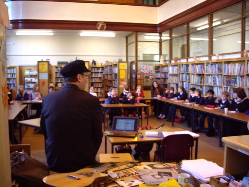 Henry delivering a school workshop